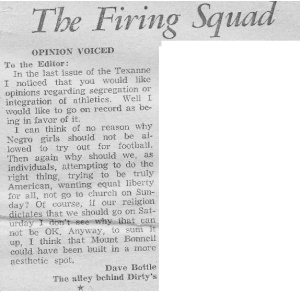 """The Texan letters column was """"Firing Line."""""""